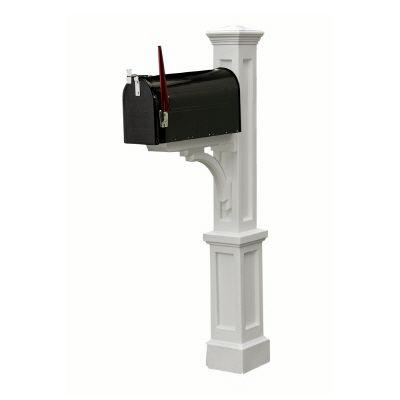 Newport Plus Mailbox Post (White) - New England styled mailbox post