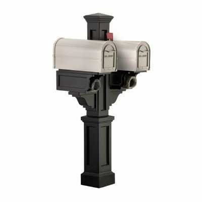 Rockport Mailbox Post (Black) - New England styled mailbox post, 2 arms with paper holders
