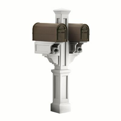 Rockport White Double Mailbox Post with 2 Paper Holders