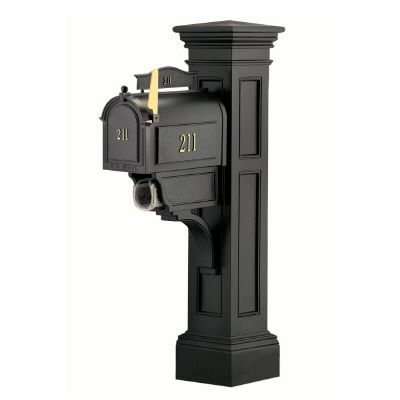 Liberty Mailbox Post (Black) - New England styled mailbox post with paper holder