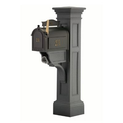 Liberty Mailbox Post (Granite) - New England styled mailbox post with paper holder