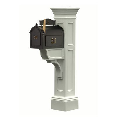 Liberty Mailbox Post (White) - New England styled mailbox post with paper holder
