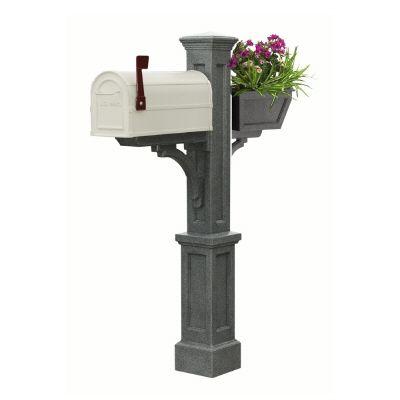 Poteau de boîte aux lettres Westbrook Plus (granite) style Nouvelle-Angleterre avec boîte à fleur...