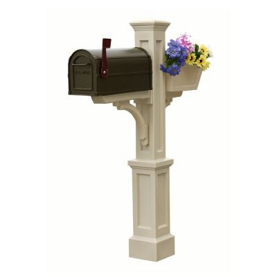 Westbrook Plus Mailbox Post (Clay) - New England styled mailbox post with planter