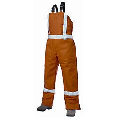 Orange Cotton Lined High-Visibility Bib Overalls  Large