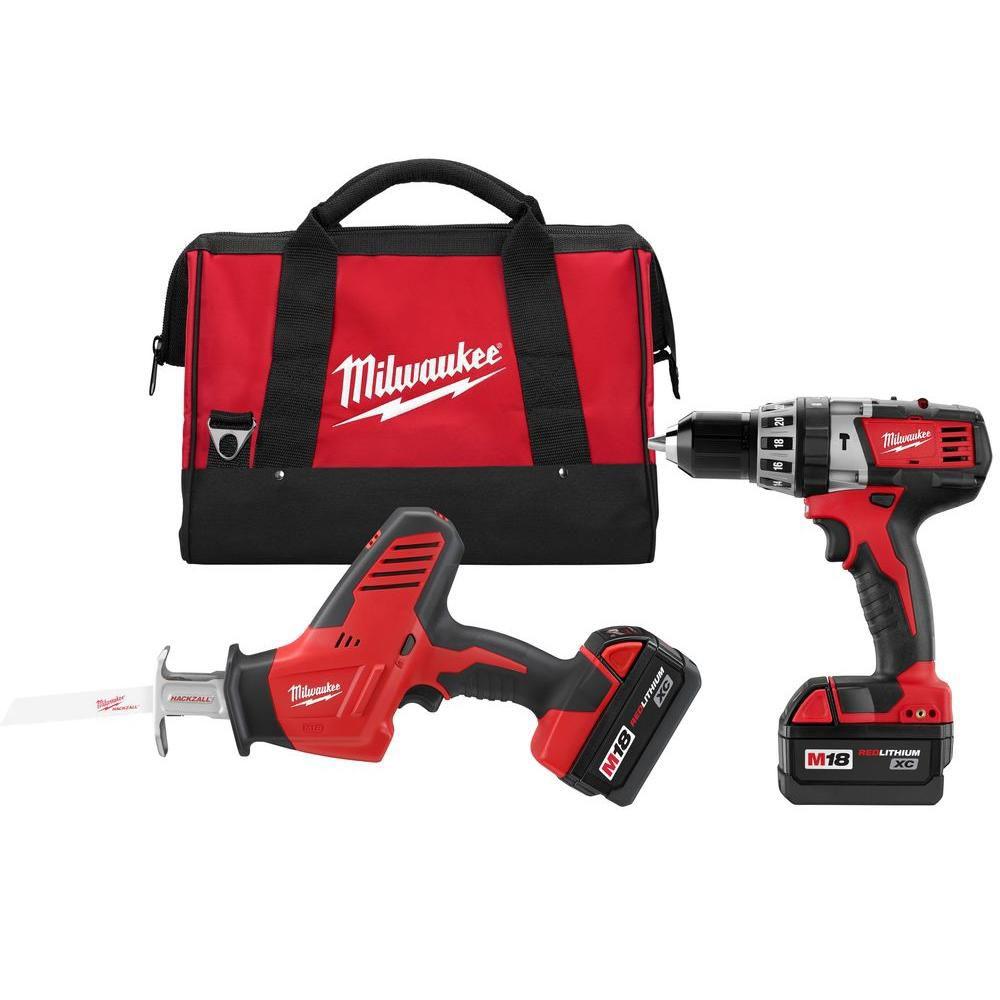 Milwaukee Tool M18 18V Li-Ion Cordless Hammer Drill/Hackzall Combo Kit (2-Tool)