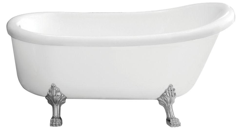Foremost International Townsend 5 Feet 6-Inch Fibreglass Freestanding Clawfoot Non Whirlpool Bathtub