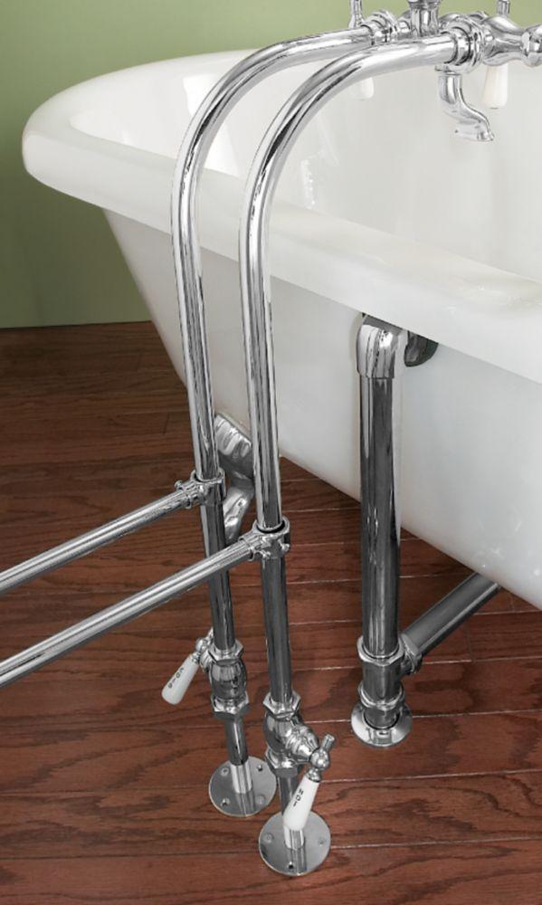 Conduites dalimentation au-dessus de la baignoire avec robinets darrêt décoratifs - Chrome