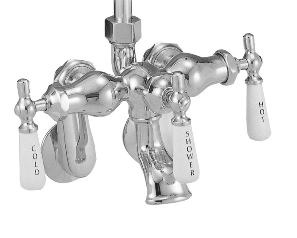 3-Handle Bath/Shower Faucet with Porcelain Lever Handles