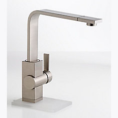 Single Lever, Contemporary Solid Spout, Kitchen Faucet, Stainless Steel