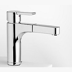 Contemporary European Single Lever, Pull-Out Kitchen Faucet, Stainless Steel