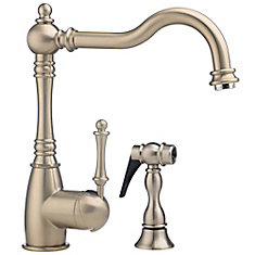 Traditional Single Lever, Solid Spout Kitchen Faucet With Side Spray And Soap Dispenser, Stainless Steel