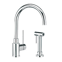Single Lever, Solid Spout Kitchen Faucet With Side Spray, Stainless Steel