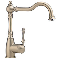 Traditional Single Lever, Solid Spout Kitchen Faucet, Polished Nickel