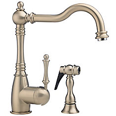 Traditional Single Lever, Solid Spout Kitchen Faucet With Side Spray, Chrome