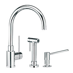 Single Lever, Solid Spout Kitchen Faucet With Side Spray, Chrome
