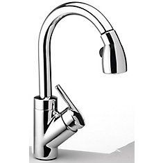 Single Lever, Pull-Down Kitchen Faucet, Stainless Steel