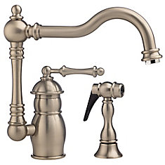 Traditional Single Lever, Solid Spout Kitchen Faucet With Side Spray And Soap Dispenser, Polished Nickel