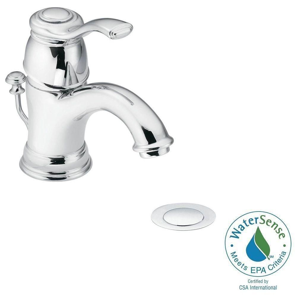 Kingsley 4 inch Centerset 1-Handle Low-Arc Bathroom Faucet with Metal Drain Assembly in Chrome