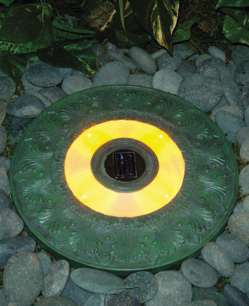 HomeBrite Solar Round Solar stepping stone - garden green