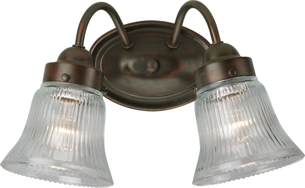 Fluted Glass Collection Antique Bronze 2-light Wall Bracket