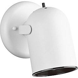 Progress Lighting 1-Light 50W White Finish Metal Cylinder Style Spotlight Fixutre