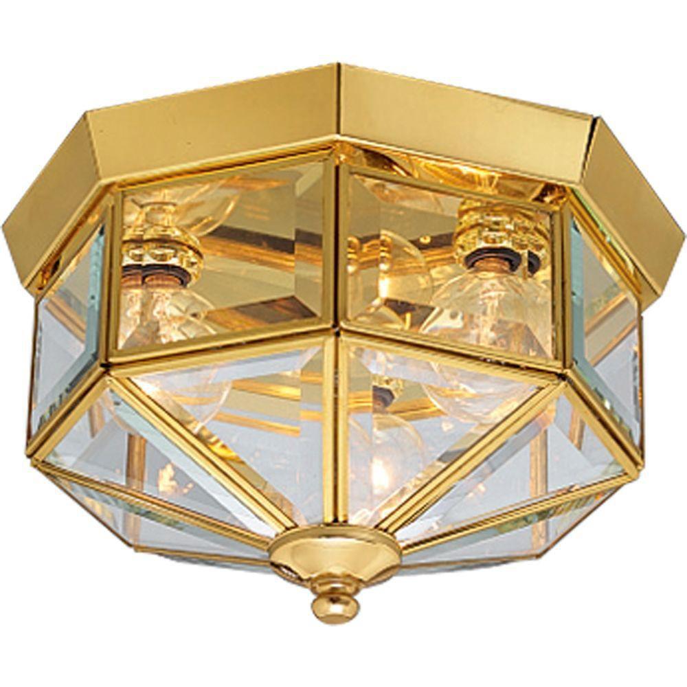 Polished Brass 3-light Flushmount