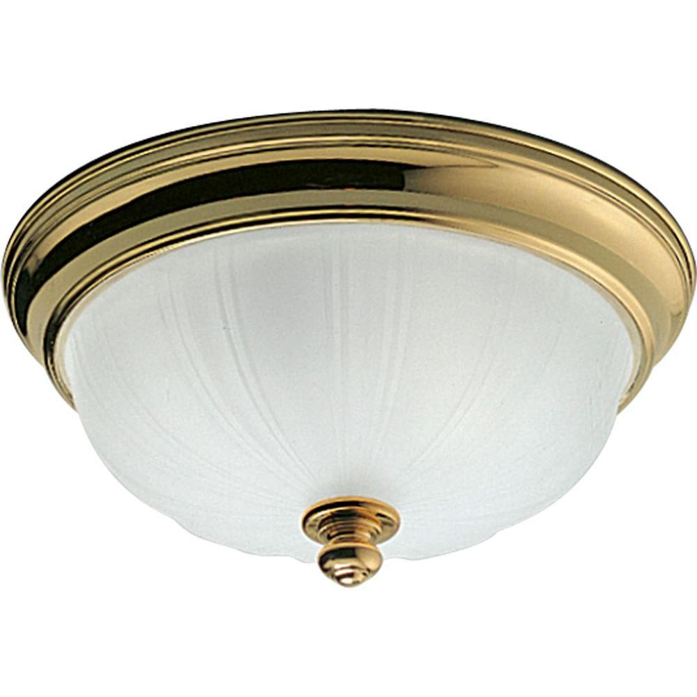 Prescott Collection Polished Brass 2-light Flushmount