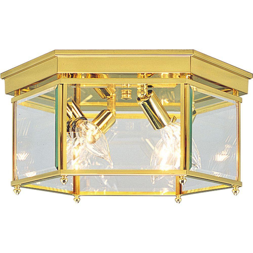 Polished Brass 4-light Flushmount