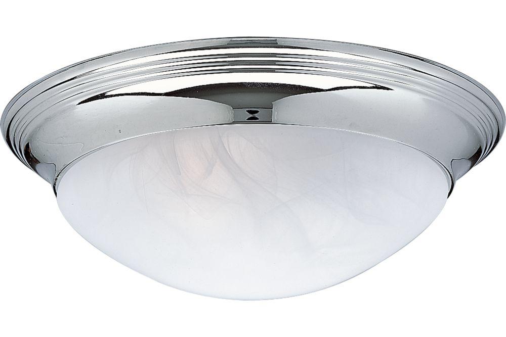 Plafonnier à 2 Lumières, Collection Alabaster Glass - fini Chrome