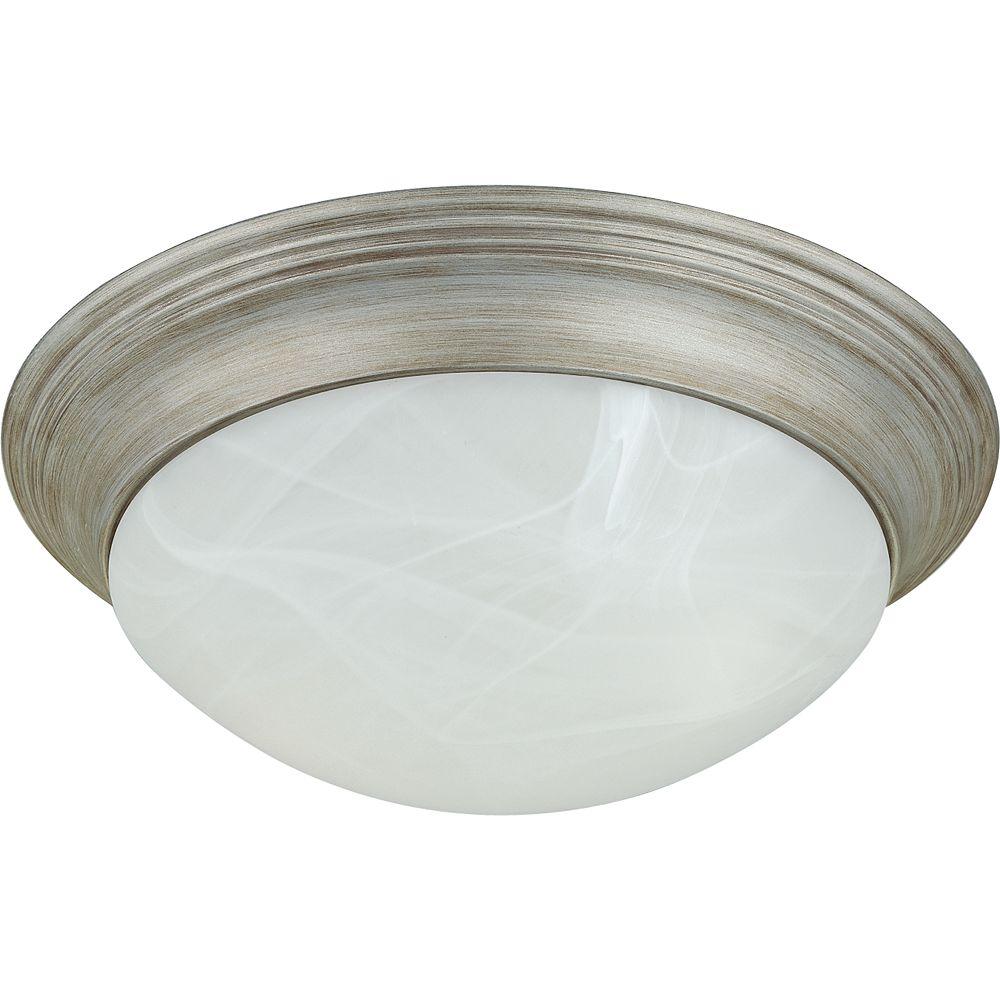 Progress Lighting Plafonnier à 2 Lumières, Collection Alabaster Glass - fini Gris Argenté