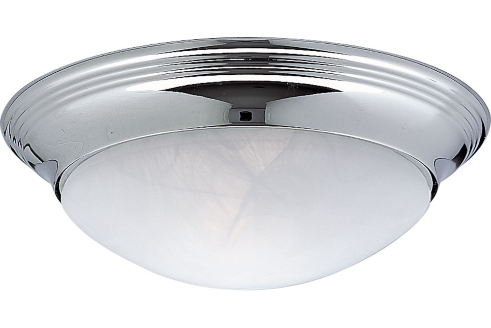 Alabaster Glass Collection Chrome 1-light Flushmount