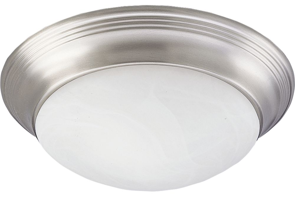 Alabaster Glass Collection Brushed Nickel 1-light Flushmount