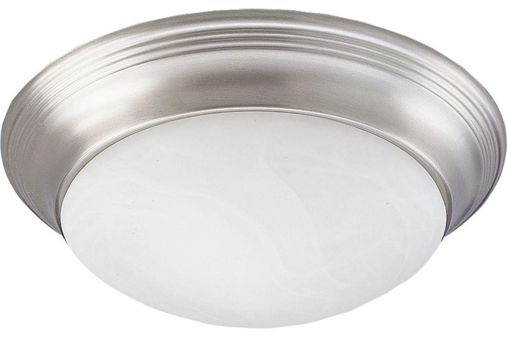 Plafonnier à 1 Lumière, Collection Alabaster Glass - fini Nickel Brossé