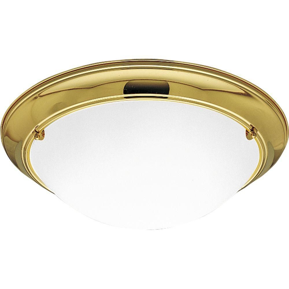 Eclipse Collection Polished Brass 3-light Flushmount