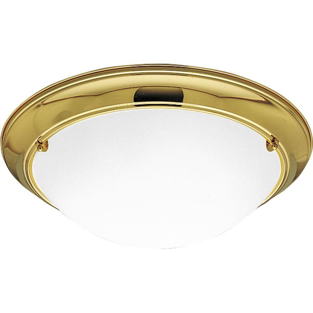 Progress Lighting Eclipse Collection Polished Brass 3-light Flushmount
