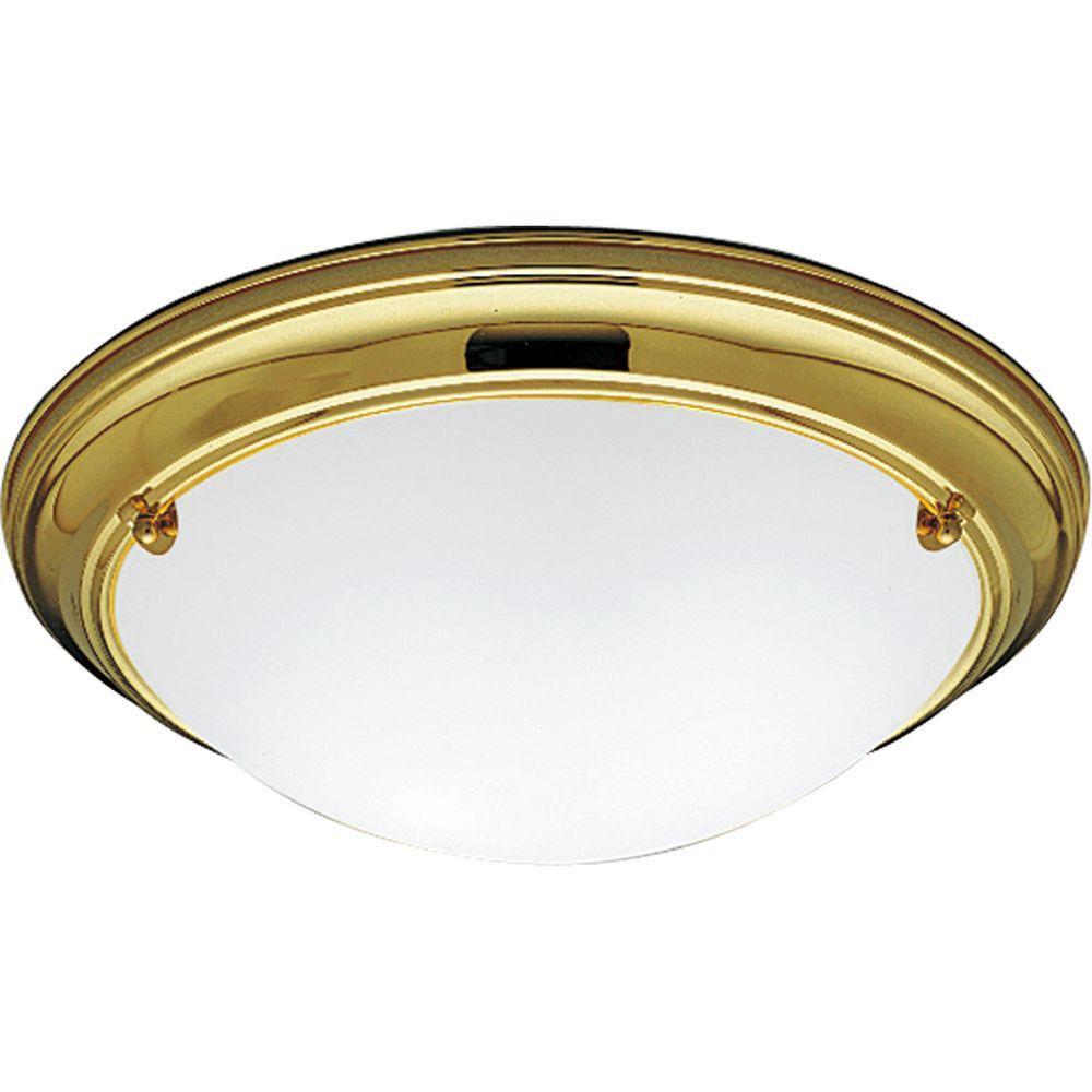 Progress Lighting Eclipse Collection Polished Brass 2-light Flushmount
