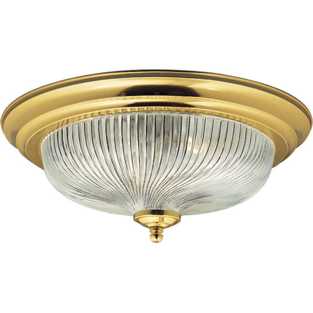 Swirled Glass Collection Polished Brass 3-light Flushmount