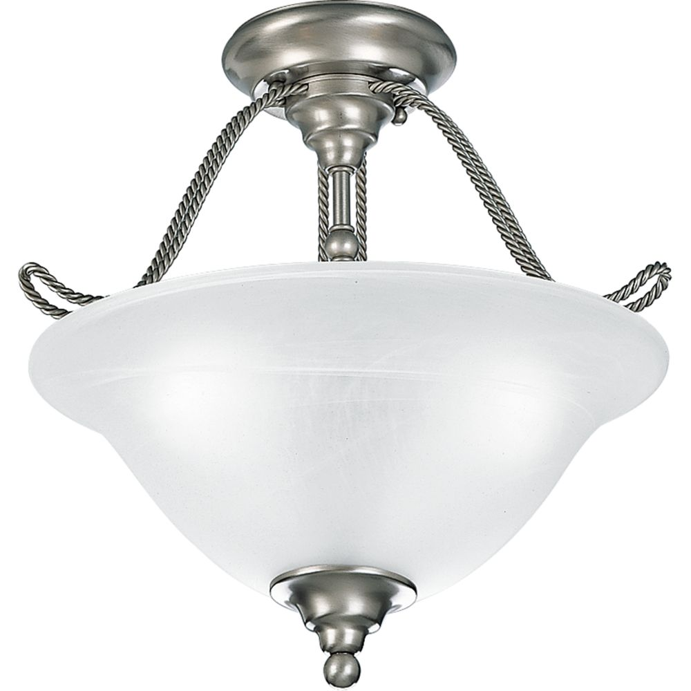 Avalon Collection Brushed Nickel 3-light Semi-flushmount