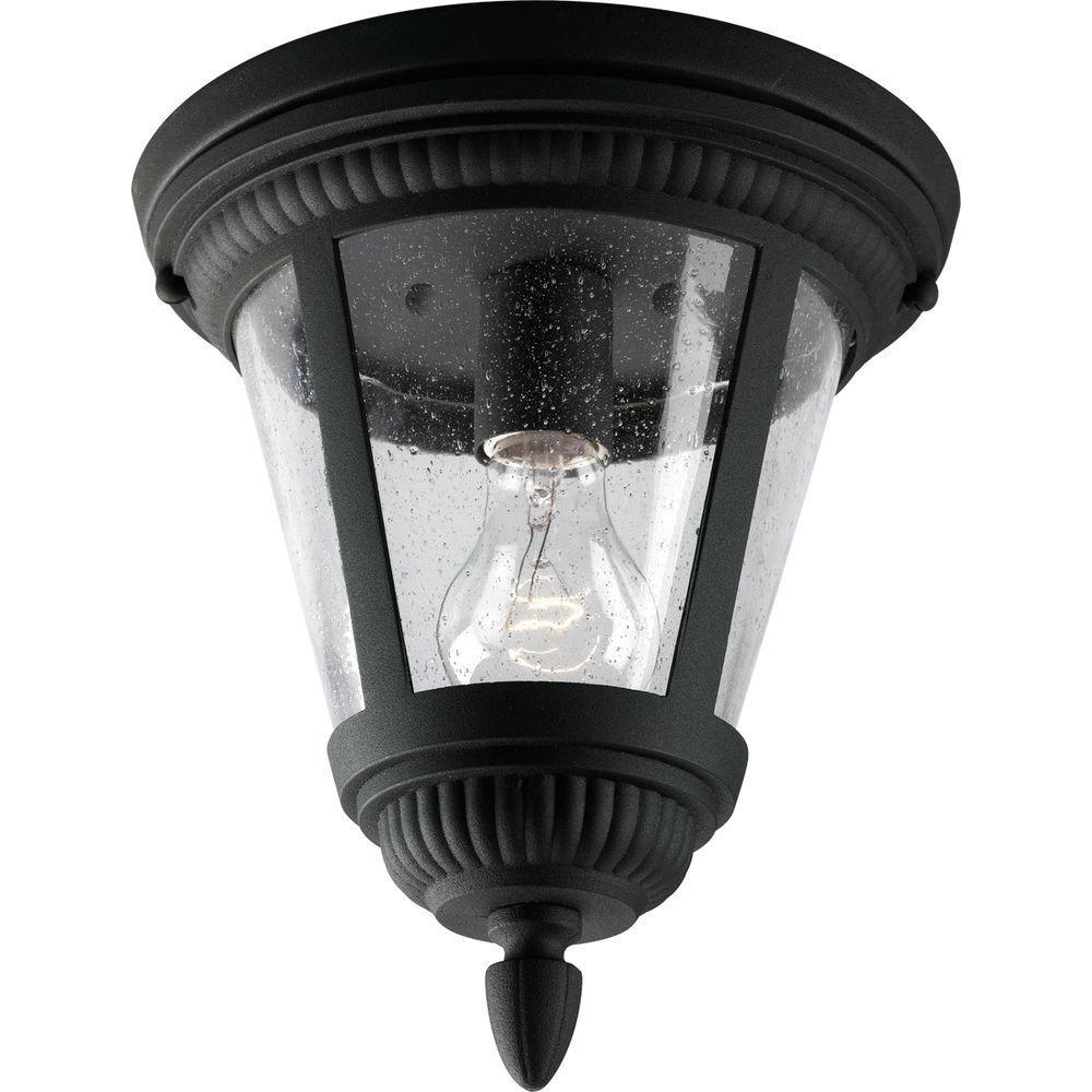 Westport Collection Black 1-light Outdoor Flushmount