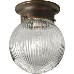 Progress Lighting 1-Light 60W Antique Bronze Finish with Clear Ribbed Glass Globe Flushmount