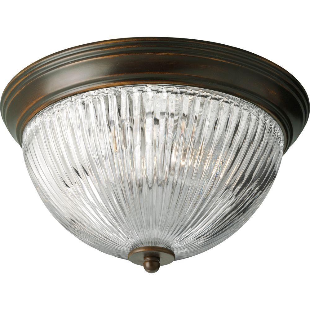 Antique Bronze 2-light Flushmount