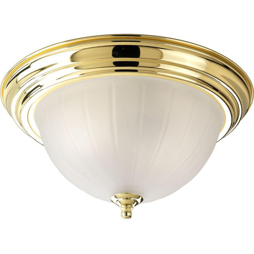 Polished Brass 2-light Flushmount