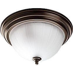 Progress Lighting 2-Light 75W Antique Bronze Finish with Etched Ribbed Glass Traditional Style Flushmount