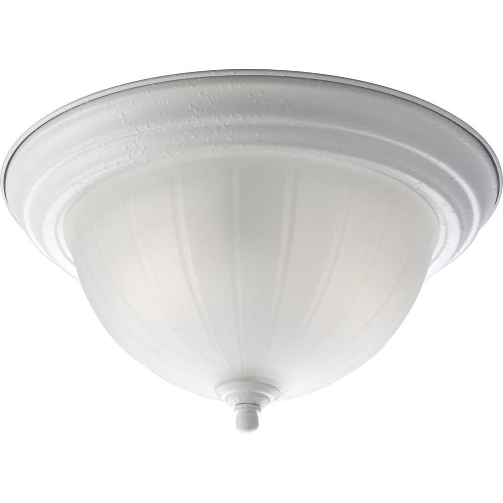 White 2-light Flushmount