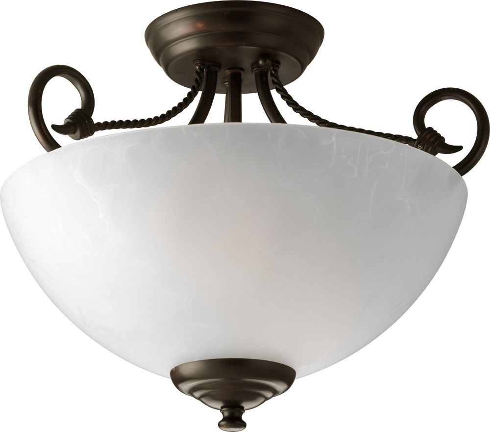 Pavilion Collection Antique Bronze 2-light Semi-flushmount