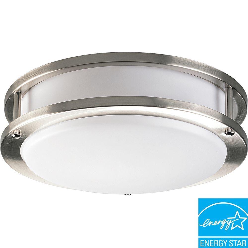 Progress Lighting 22W 1-Light Brushed Nickel Flushmount with White Acrylic Diffuser