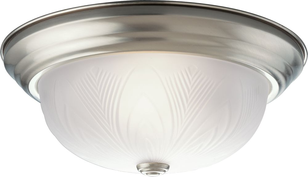 Etched Glass Collection Brushed Nickel 2-light Flushmount