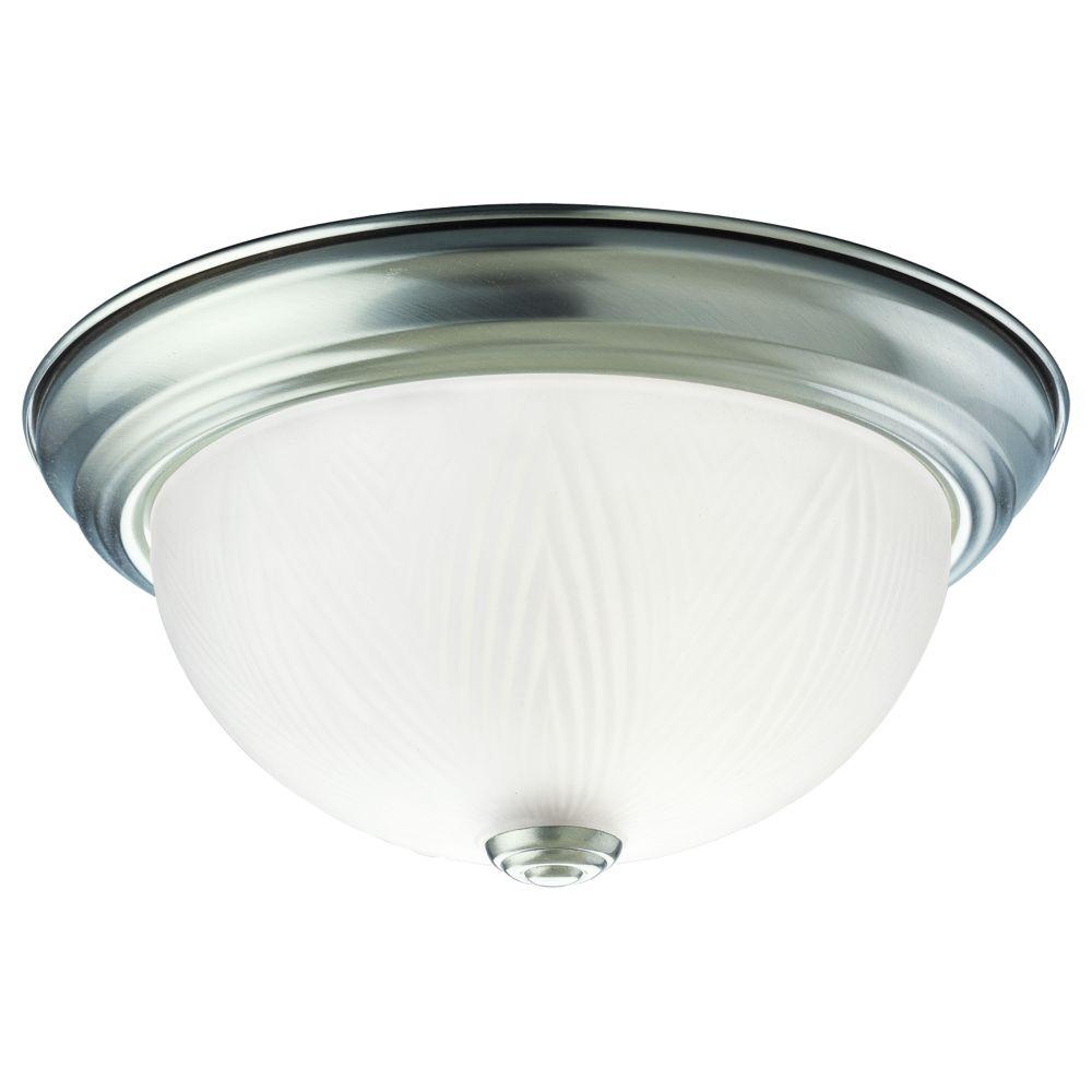 Plafonnier à 1 Lumière, Collection Etched Glass - fini Nickel Brossé