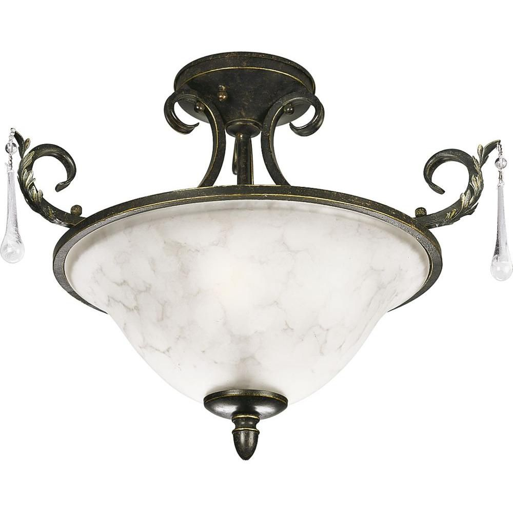 Veranda Collection Espresso 2-light Semi-flushmount